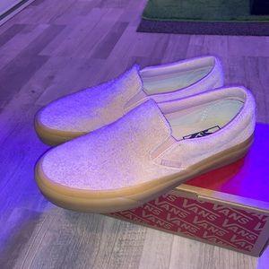 Vans fuzzy suede baby rose pink slip on sneaker